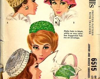 "1960's McCall's No. 6515 : Smocked Hats , Velvet Pill Box Smocked Hats , Millinery , Headsize 21 1/2"" - 22 1/2"""
