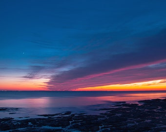Sea sunset-Nature-Photography seascape-Beach Photography-Ocean-Ocean wall art-Atlantic ocean photo-Beautiful sky