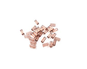 30 red glass tube beads / pink approximately 10 x 4mm