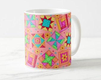 Quilt Block Art Mug, Colorful Multicolor Blocks on Coral Orange, Whimsy Original Quilt Art, Traditional and New Blocks, Original Quilt Art