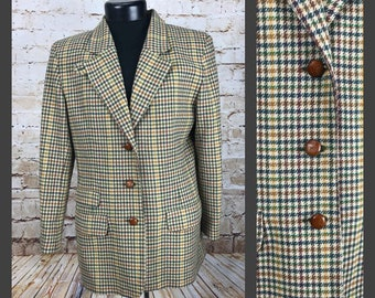 Women's Vintage Blazer - Vintage Plaid Checkered LIZ SPORT Blazer Jacket - Men's Vintage Blazer - Size 12 - Large Medium