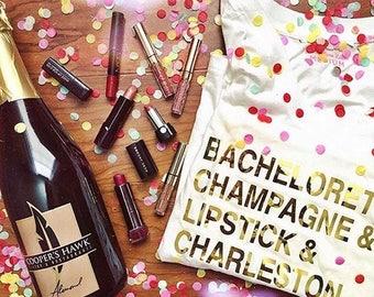 Bachelorette Champagne Lipstick Shirt. Bachelorette Shirts. Bridesmaid Shirts. Custom Bachelorette Party Shirts. Charleston Bachelorette.