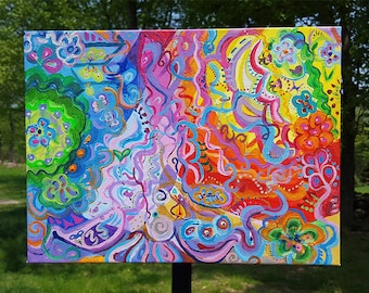 Rainbow Ribbons - psychedelic acrylic painting on canvas