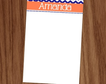 Girls Personalized Chevron Notepad Note Memo Pad, Custom Navy and Coral Note Pad, Teacher Mom Girl Gifts