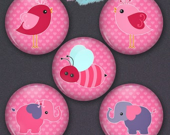 Set of 5 Cute Bird, Bee and Elephant Pin-back Button Badges or Ponytail Holder Charms Set of 5