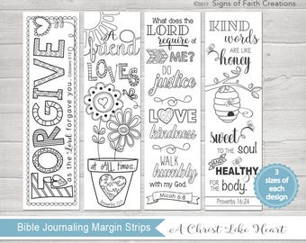 Bible Journaling Printable Margin Strips, Coloring Bible Templates, Scripture Bookmark, Proverbs 16, Micah 6, Proverbs 17, & Colossians 3