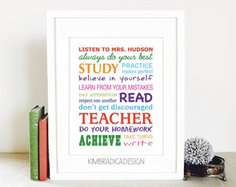 Personalized Teacher Subway Art, Multi-Colored Digital Print