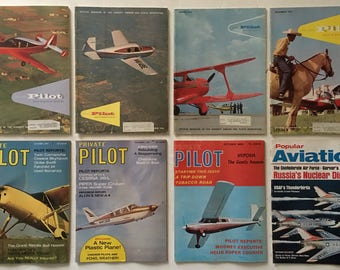 The AOPA Pilot, Private Pilot, and Popular Aviation Magazines Vintage 1959-1969 Aviation Airplane Enthusiasts Lot of 8