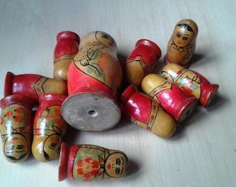 SALE! Soviet vintage wooden matroshka dolls, 11 pcs set nesting dolls, hand painted Russian matroshkas, 1970s, Soviet Souvenir, USSR