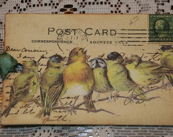 Singing Birds On A Branch Vintage Post Card Gift Tags