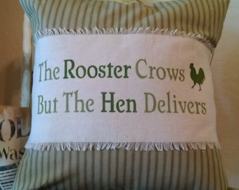 "Shabby French 16""x16"" The Rooster Crows...Sage Homespun Pillow Cover"