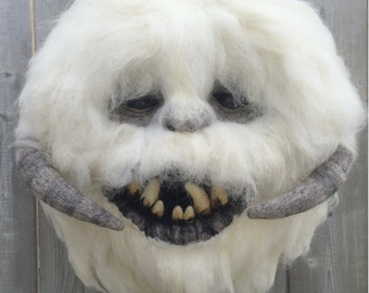 "Wampa Head, Needle Felted. 16""H x 14""W"