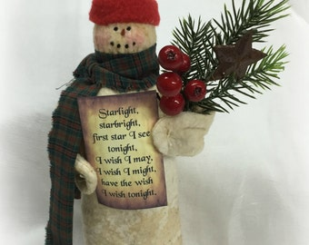 Primitive Snowman | Snowman doll | Winter decoration | table centerpiece | Christmas decoration | holiday decor | Snowman | Starlight