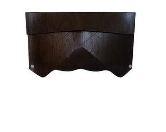 Origami clutch in wood - brown