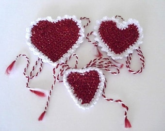 Red Hearts Brooches . SET of 3 crochet hearts  with strings  tassels  and  brooch pin. Ready to ship