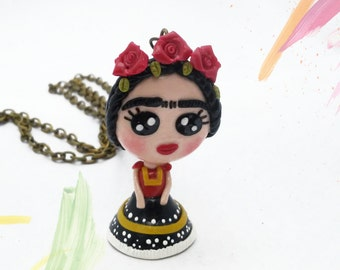 Mexican jewelry, Frida kahlo necklace, frida jewelry, red flowers, gift for her, frida pendant, doll necklace
