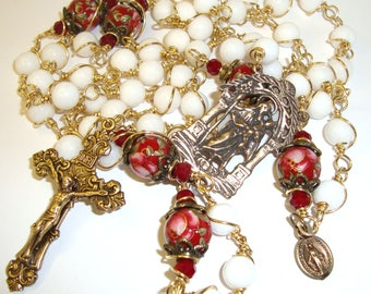 Catholic rosary,red roses, St. Joseph with baby Jesus,wire wrapped,unbreakable,AbundantGrace,Indylin,bronze and brass components,miraculous