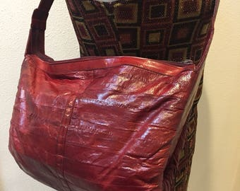 Genuine EEL OxBlood Red Vintage Women's Shoulder Bag / Red EEL Handbag