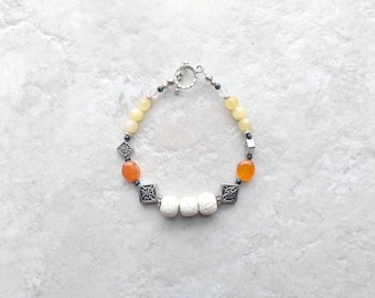Essential oil diffuser Bracelet, lava bead bracelet, orange and yellow, mothers day gift, gift for her, carnelian bracelet, white and silver