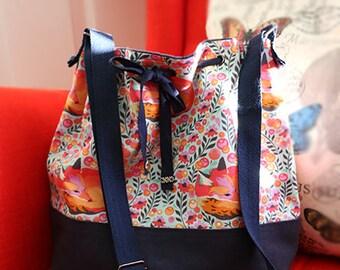 Tula Pink Sleeping Fox & Navy Canvas Drawstring Adjustable Shoulder Cross Body Bucket Bag/Purse