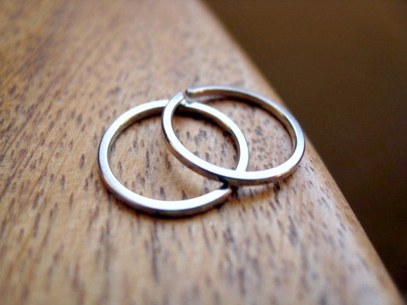 Mens Earrings Silver Hoops Jewelry For Men Square Stainless