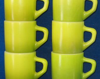 6 Vintage Fire-King lime green cups