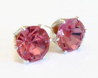 Rose Pink Swarovski Crystal Stud Earrings - October Jewelry - Pink Earrings