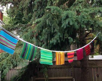 Mexican Banner, Fabric Squares Bunting, Fiesta Wall Decor, Wall Hanging, Bridal Shower Decor, Wedding Garland, Children Party Decorations