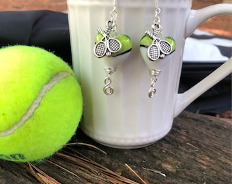 sterling silver tennis earrings,racket earrings, tennis earrings, tennis jewelry, tennis gitf, tennis racket jewelry, heart earrings