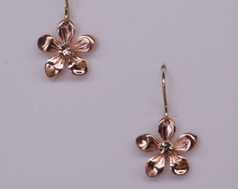 Rose Gold flower earrings with centre crystal on 14k gold filled ear wires