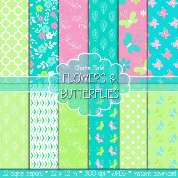 """Spring digital paper: """"FLOWERS & BUTTERFLIES"""" paper pack in green, blue, pink with flowers, butterflies, quatrefoils, leaves and polka dots"""