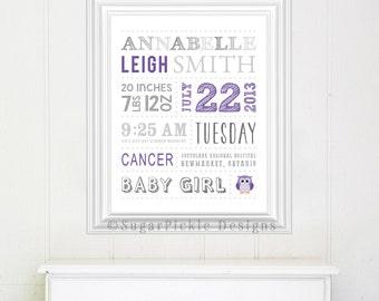 Owl Nursery birth announcement, birth print, personalized birth art print, baby announcement, nursery subway art, baby keepsake, baby name