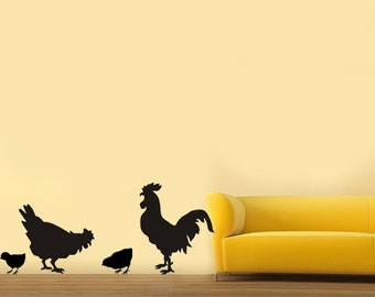 Aniamls A family of rooster chick----Removable Graphic Art wall decals stickers home decor