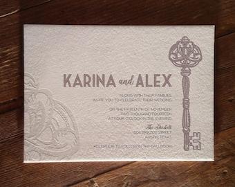 Skeleton Key Letterpress Invitation DEPOSIT