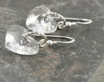 Valentine Heart Earrings Ice Clear Crystal Sterling Silver Dangle Simple Dainty Minimalist Valentine Jewelry