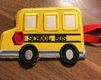 School time bus tag - safety kids bus tag with child's name, bus number, and address