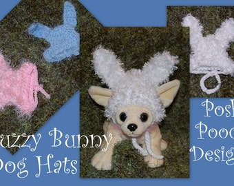 Instant Download Crochet Pattern - Fuzzy Bunny Dog Hat - Dog Bunny Beanie - Easter Bunny Dog Hat