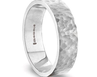 White Gold Hammered Wedding Ring in Fairtrade Gold : 6mm