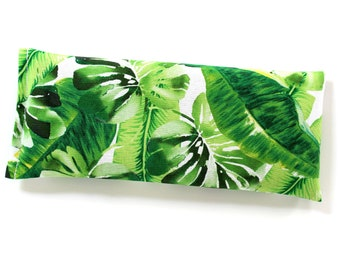 Weighted Eye Pillow, Flaxseed & Lavender Aromatherapy Pillow, Tropical Palm Leaves