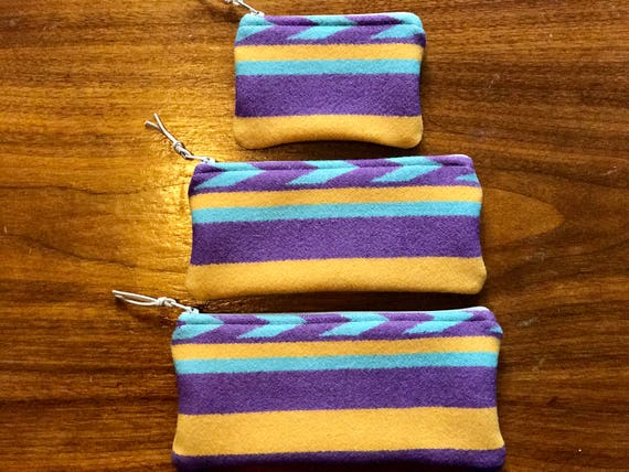 Gift Set of 3 - XL - Organizer Set / Travel Set Wool Purple & Yellow