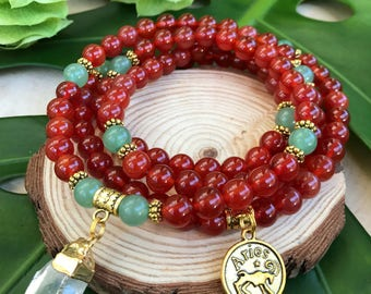 ARIES Zodiac Mala Beads | 108 Bead Carnelian Mala for March April Birthday Gift | Meditation Yoga Beads, Prayer Beads, 108 Mala Necklace