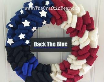 Police wreath - Thin Blue Line wreath - Police Officer wreath - Back the blue wreath - American flag wreath - Law Enforcement wreath -
