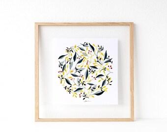 Mini lámina pintada con acuarelas. Decoración de pared, estilo floral.