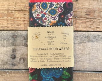 All Natural Cotton Beeswax Food Wraps Storage Covers Picnic Cover Food Storage Sugar Skulls and Roses