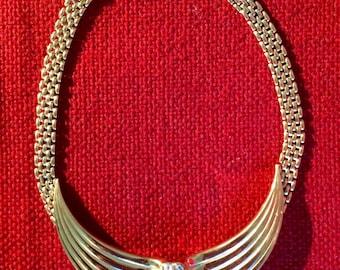 Vintage Nina Ricci Collar Necklace with Elegant Rhinestone Deco Accent Design - 1980s -Disco Era