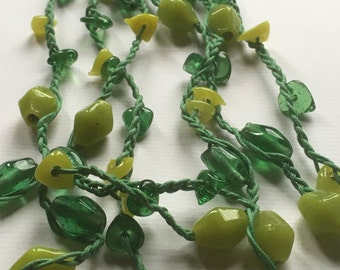 Handmade Vintage Glass Beads Shades of Green Multistrand Braided Necklace/Loop Fastener/Transparent Green Beads/Matted Green Beads/1990s