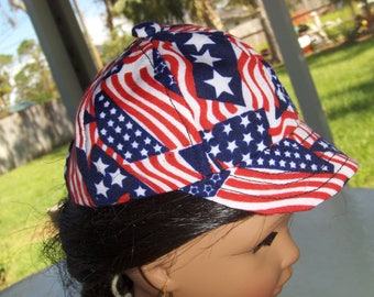 Red, White and Blue . Baseball Cap for American Girl Doll and similar  18 inch Dolls