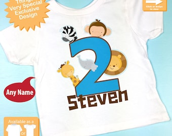 Two Year Old Jungle Birthday Shirt with Name, Second Birthday Shirt, Personalized Jungle Birthday Theme (05022013b)