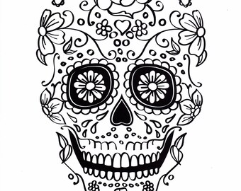 Five different sugar skull coloring pages, printable digital download no 482.