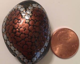 Hand painted rock - Copper Heart